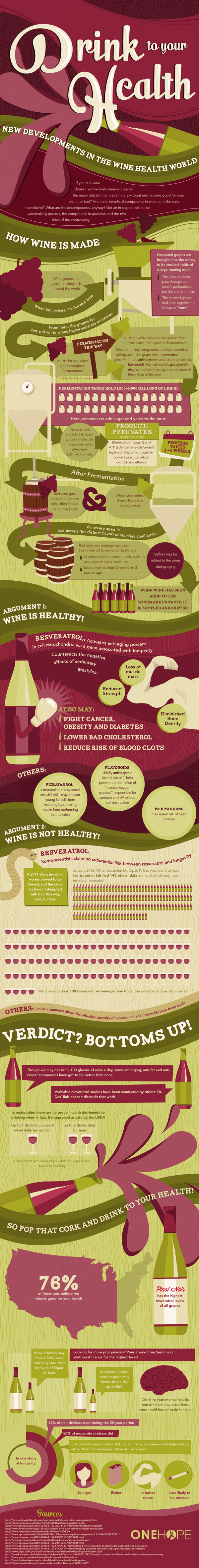 Drink to Your Health infographic from ONEHOPE Wine